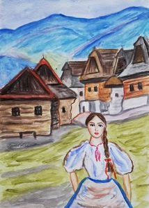 Village girl Slovakia painting