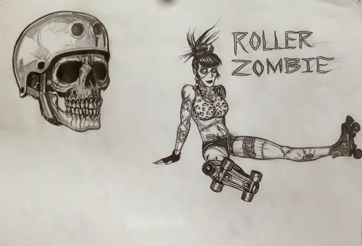Roller zombie girl - Koned Drawing