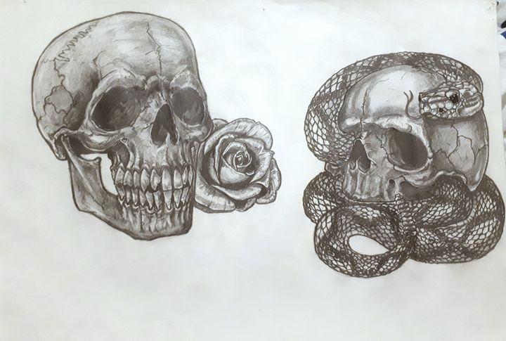 rattlesnake and rose skull - Koned Drawing
