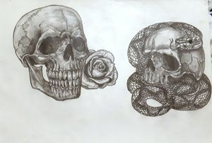rattlesnake and rose skull