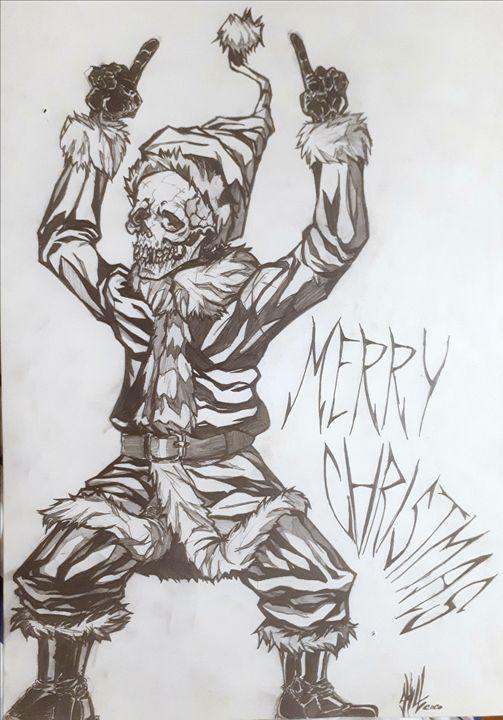 Santa skull - Koned Drawing