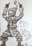 Original drawing santa claus skull
