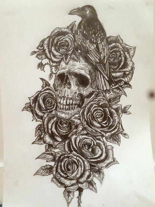 Crow roses and crying skull - Koned Drawing