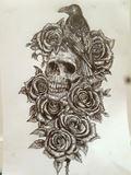 Original drawing crow roses & skull