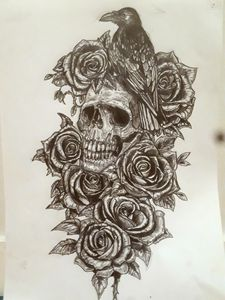 Crow roses and crying skull