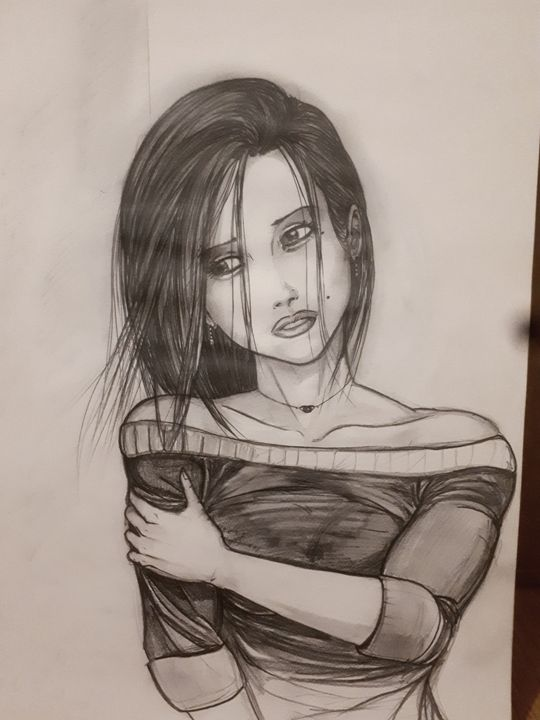 Sad woman black and grey - Koned Drawing