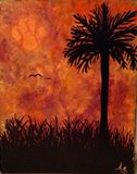 Palm tree I. Clemson colors.