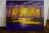 Sunset Acrylic Painting by DW