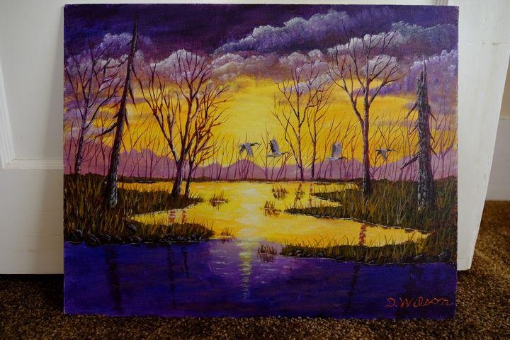 Purple Evening Sky - Acrylic Paintings by Daniel Wilson