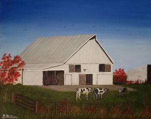 White Barn Among Red Autumn Leaves