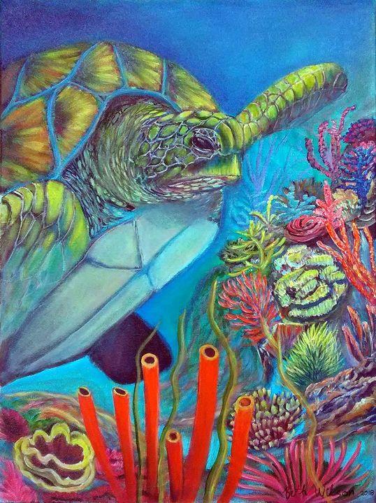 Sea Turtle Under the Sea - Beth Paintings