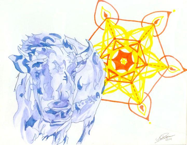 Blue Buffalo with Yellow Flower - Marissa Danylik