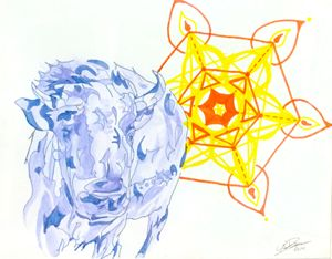 Blue Buffalo with Yellow Flower