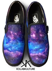 Hand painted Burple Galaxy Vans