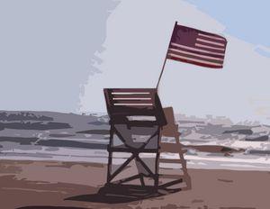 American Flag on the Beach