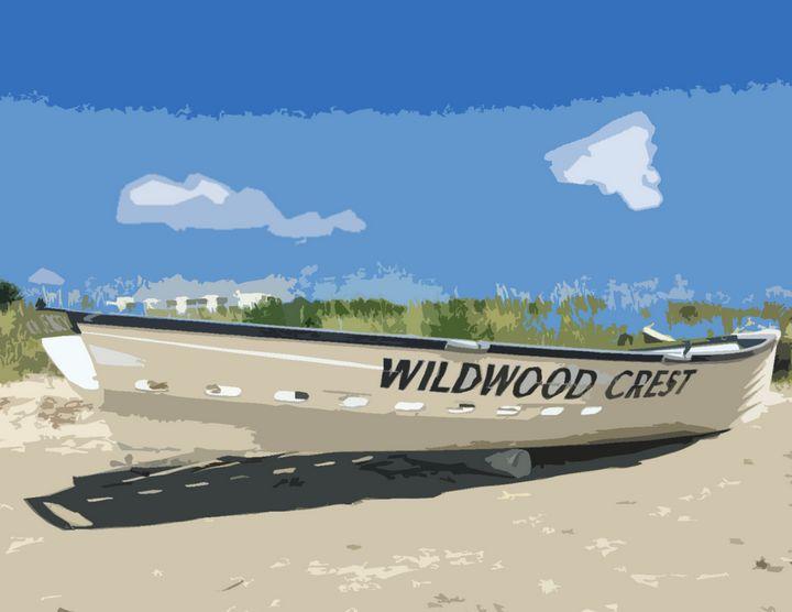 Wildwood Crest Boat - Wildwood Boardwalk Art
