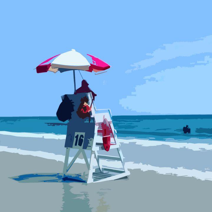 Wildwood Lifeguard at Work - Wildwood Boardwalk Art