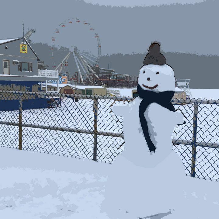 Wildwood Snow Man - Wildwood Boardwalk Art