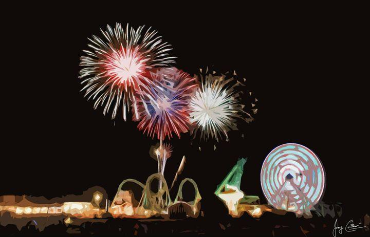 Wildwood Fireworks Wildwood Boardwalk Art Digital Art