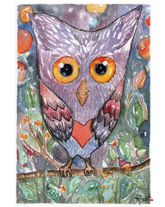 Colored Owl - AngelicaBalditArt