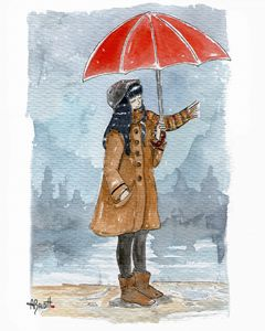 Girl with coat and red umbrella