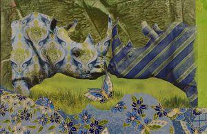 My Kissing Rhinos  Collage  8.5x5.5