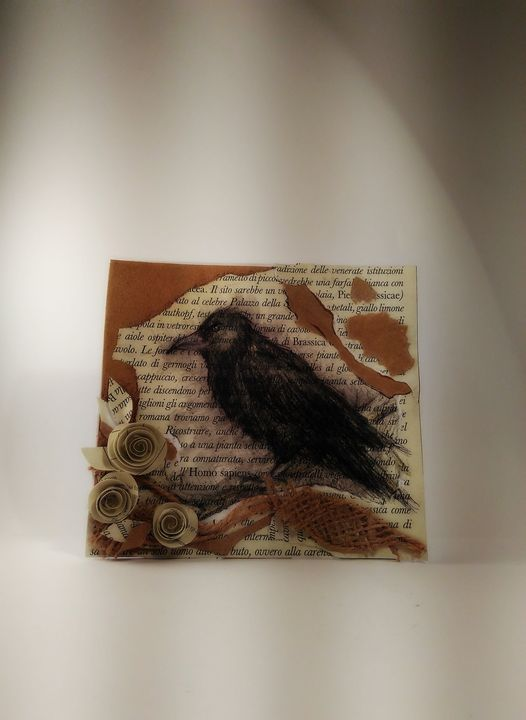 Raven greeting card - Kartessa Rosa
