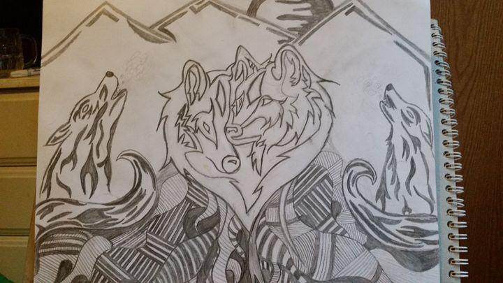 Tribal wolf drawing - Alesha