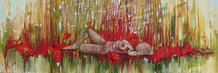 Lying with Poppies - Tiziana Fejzullaj