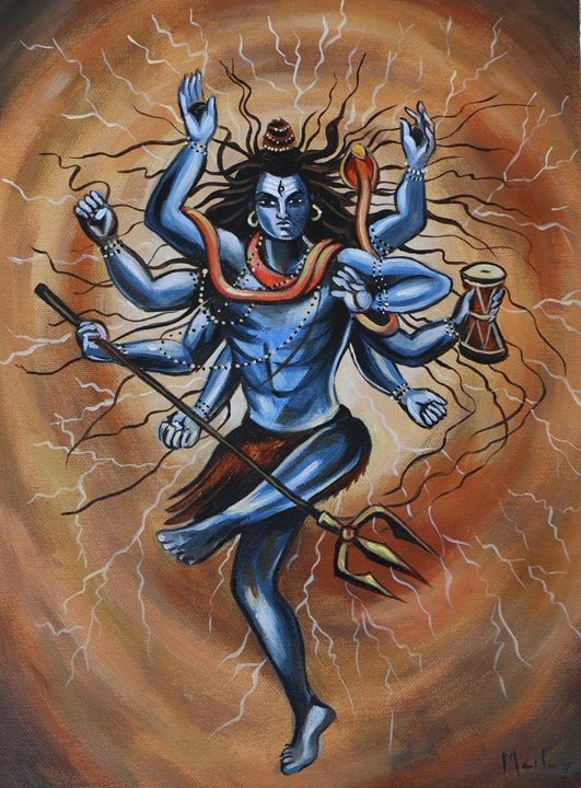 Shiva Tandav Painting in Canvas - Freedom Art Gallery