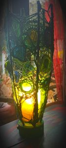 recycled bottle glass lamp made by o