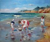 Children play on the beach