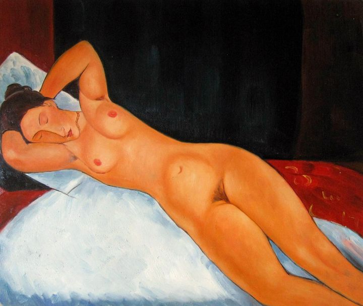 "repro. ""recline nude"" by Modigliani - Richard Zheng"