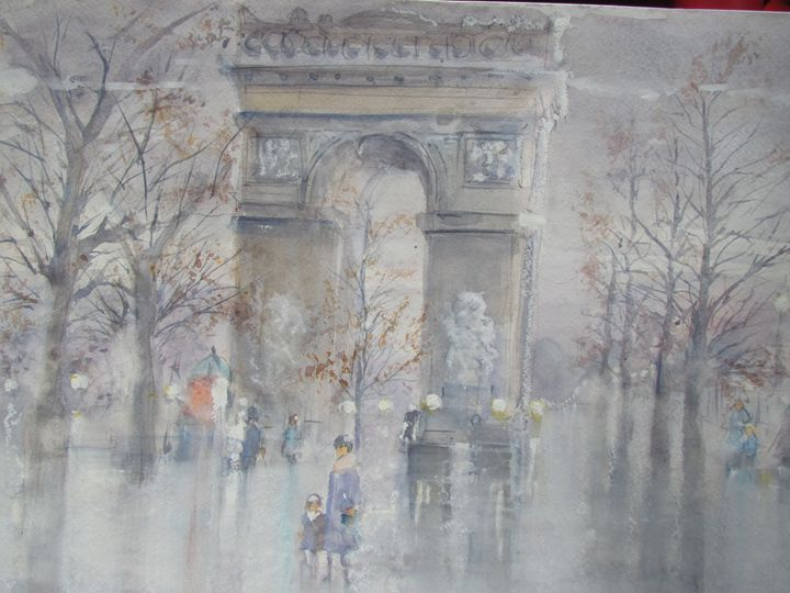 Rainy Arc de Triomphe - Webster original art