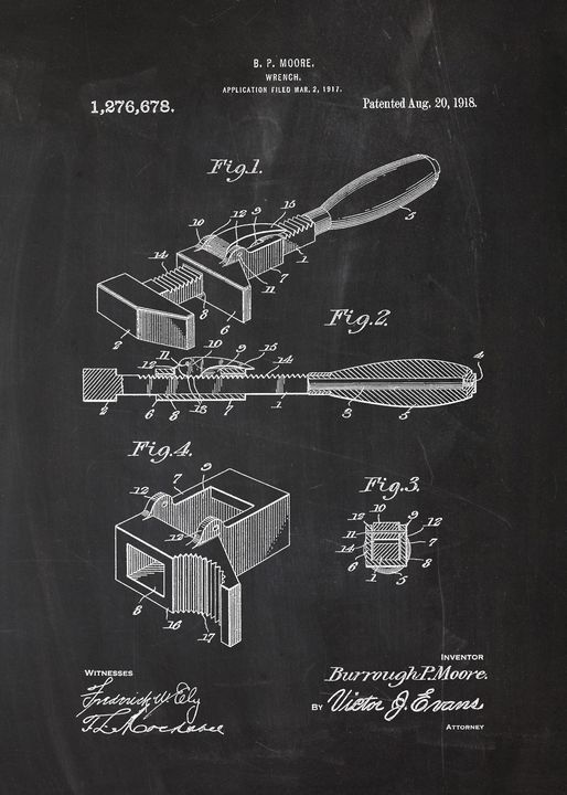 1918 Wrench Patent Drawing - Patents