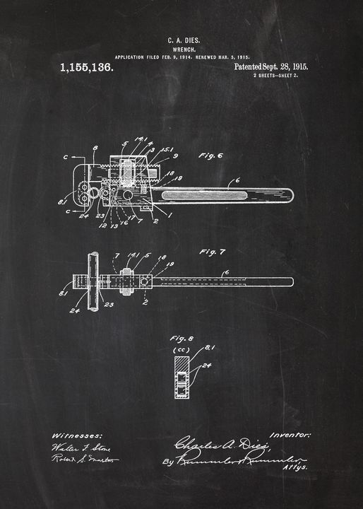 1915 Wrench Patent Drawing - Patents