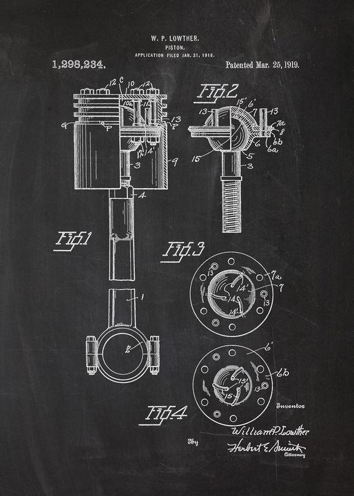 1919 Piston Patent Drawing - Patents