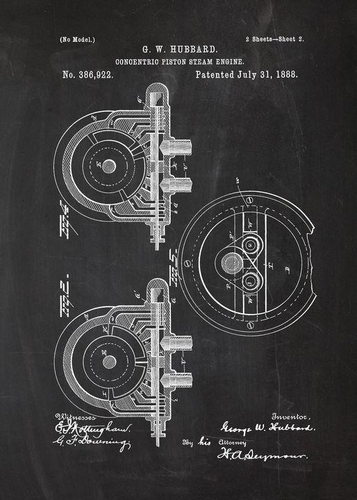 1888 Concentric Piston Steam Engine - Patents