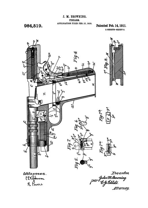 1911 Firearm Patent Drawing - Patents