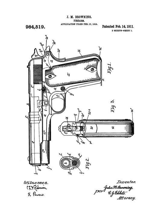 1911 Firearm Patent Drawing - Patents