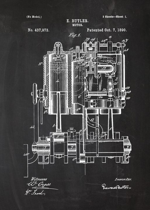 1890 Motor - Patent Drawing - Patents