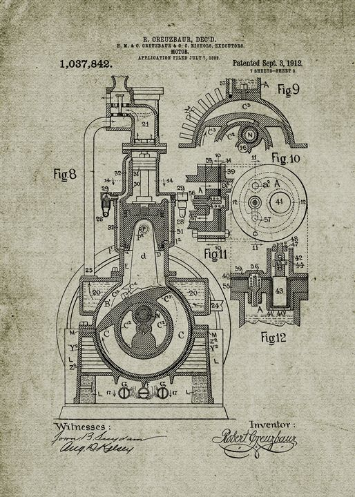 1912 Motor Patent Drawing - Patents