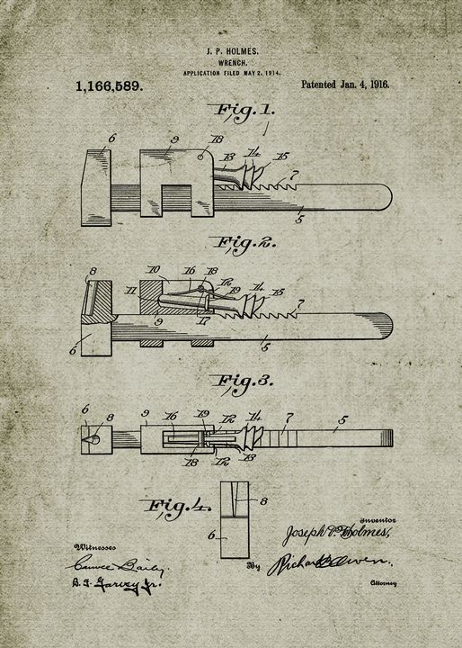 1916 Wrench - Patent Drawing - Patents