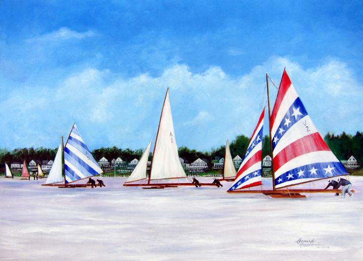 Winter Sails on the Navesink River - Leonardo Ruggieri Fine Art Paintings