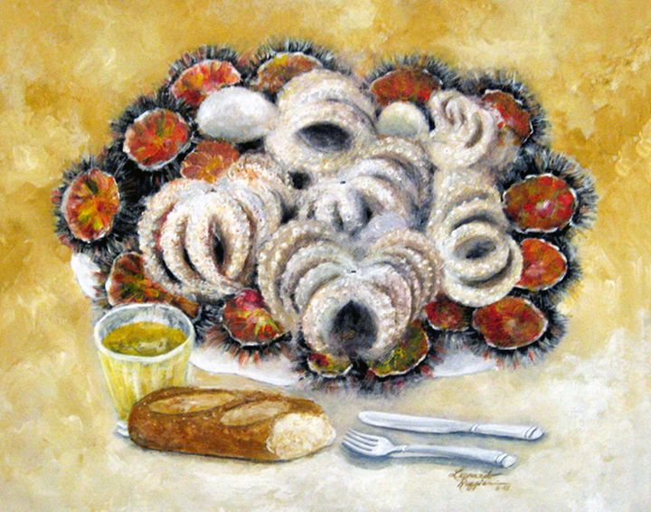 octupus and sea urchins dinner - Leonardo Ruggieri Fine Art Paintings