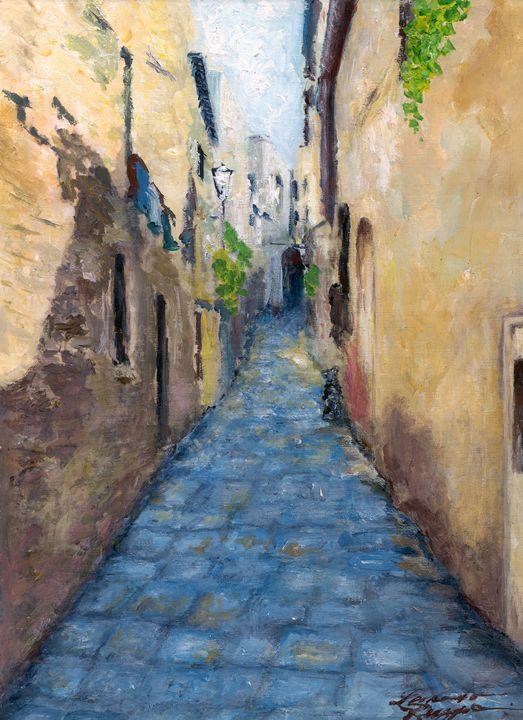 Old Mountain Town in Italy - Leonardo Ruggieri Fine Art Paintings