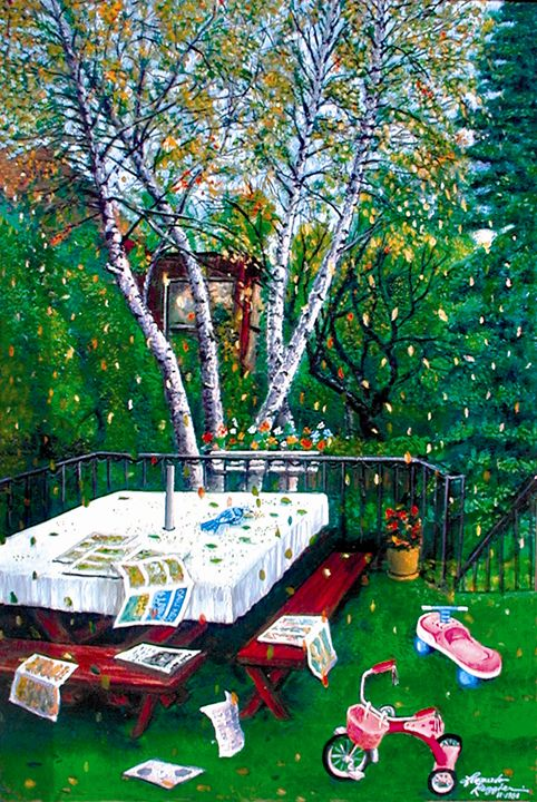 Mill Basin Brooklyn Backyard - Leonardo Ruggieri Fine Art Paintings