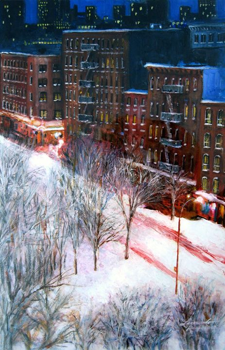 Silent Night NYC - Leonardo Ruggieri Fine Art Paintings