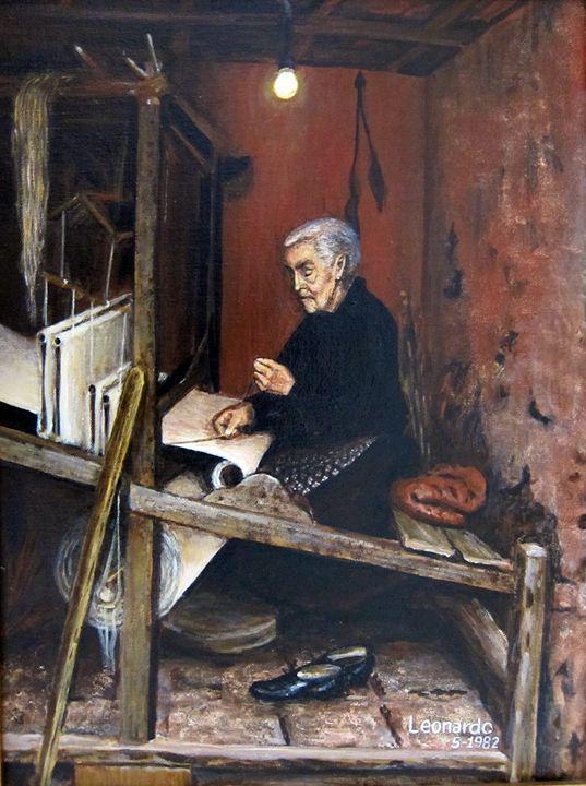 Calabrian Weaver - Leonardo Ruggieri Fine Art Paintings