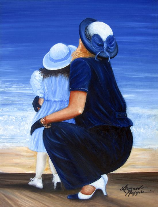 Mother and Daughter - Leonardo Ruggieri Fine Art Paintings